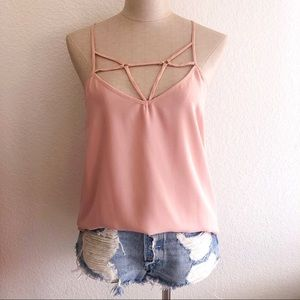 Light Pink Tank Top with Neck Detail